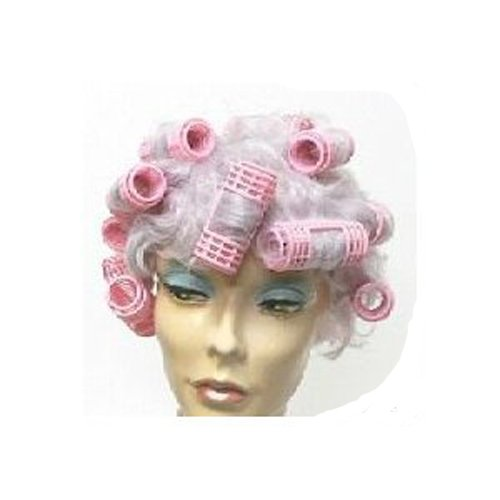 Gray Hair WIG w/ PINK CURLERS Housewife Gag costume - coolthings.us