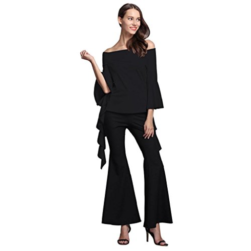 elevintm-women-new-fashion-casual-long-sleeved-round-neck-sexy-top-wide-leg-pants-suit-xl-black-top