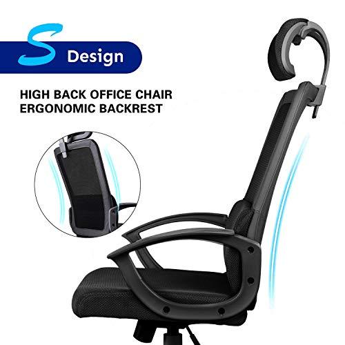 Smugdesk Ergonomic Office Chair Adjustable Headrest Mesh Office Chair Office Desk Chair Computer Task Chair (Black) - 2579 Photo #5