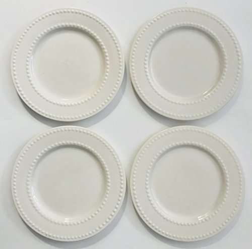 White With A Double Row Of Small Raised Dots Around The Rim | Quality Porcelain | Set of 4 Lunch | Salad | Dessert Plates | 7.5 inches