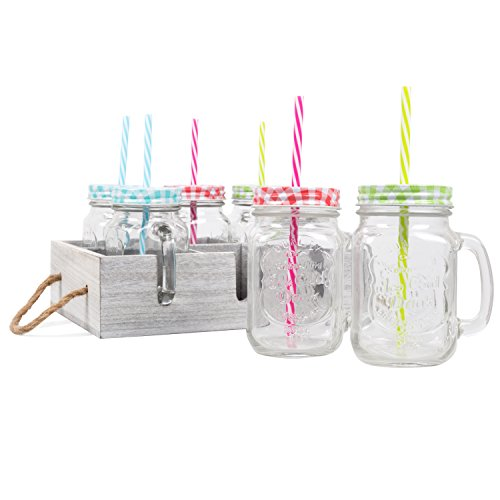 Glass Mason Drinking Jars & Carrier with Reusable Straws, Li