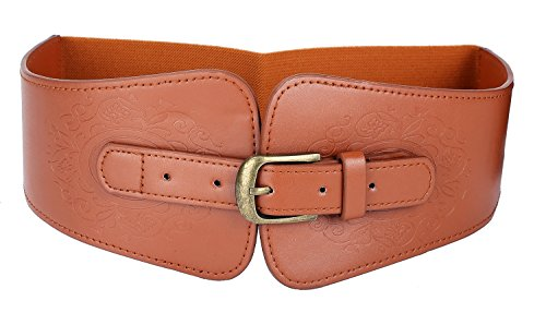 LVGE Women's Leather Retro Flower Embossing Elastic Stretch Cinch Waist Belt Camel - Leather Cinch Belt