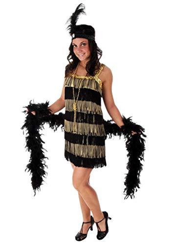 (Gold and Black Flapper Dress Plus Size 1920s Flapper Dress Costume)