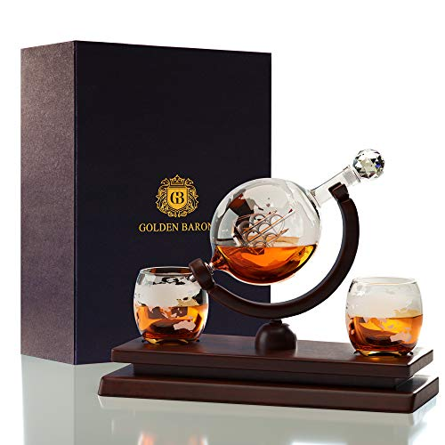Globe Whiskey Decanter And Glass Set   Best For Housewarming & Birthday Gifts For Men by Golden Baron (Image #7)