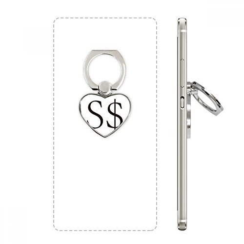 Currency Symbol Singapore Dollar Heart Cell Phone Ring Stand Holder Bracket Universal Support Gift