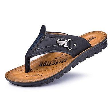 Sandalias de verano zapatos de hombre casual Flip-Flops Cuero negro / azul / caqui Caqui