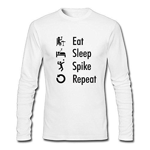 Spike Turtle T-shirt (RubyLena Mens Eat Sleep Spike repeat Long Sleeve T-Shirt Clothing White M)