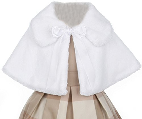 Little Girls Cute Fluffy Ribbon Tie Closure Collar Flower Girls Cape (12SK) White 6 (Tea Length Ribbon)