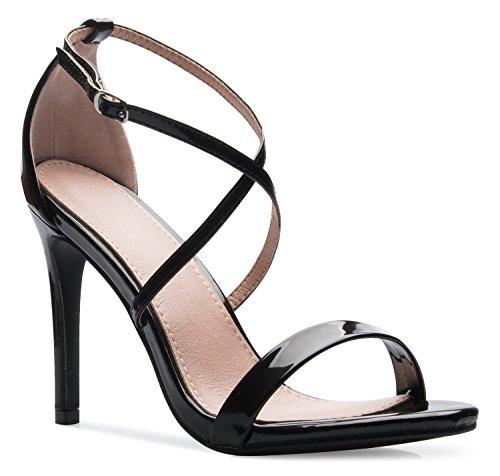 - OLIVIA K Women's Elegant Cross Strap High Heel Sandals - Wedding, Dress, Comfort, Sexy,Black Patent,7 B(M) US