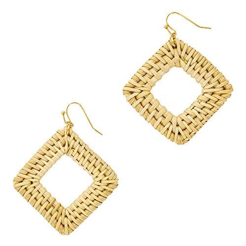 Rattan Weave Statement Earrings - Drop Raffia Boho Dangle Earrings (2.48