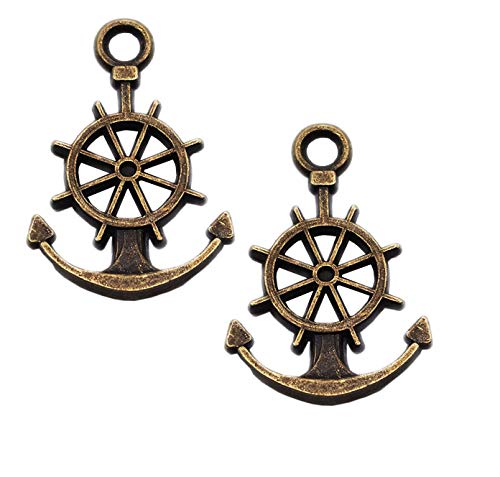 40pcs Vintage Antique Bronze Alloy Boat Ship Anchor Charms Pendant Jewelry Findings for Jewelry Making Necklace Bracelet DIY 21x14mm (40pcs ()
