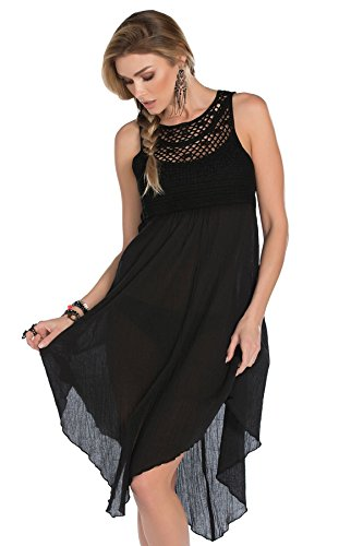 Becca by Rebecca Virtue Women's Seaside Tank Dress Swim Cover Up Black S