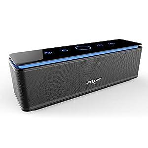 Enceinte Bluetooth Portable, Batterie Externe 10000mAh 26W 4 Haut-Parleurs 24 Heures d'Autonomie Subwoofer Basses Puissantes Contrôle Tactile AUX/Micro Carte SD/TF/Microphone-Noir 1