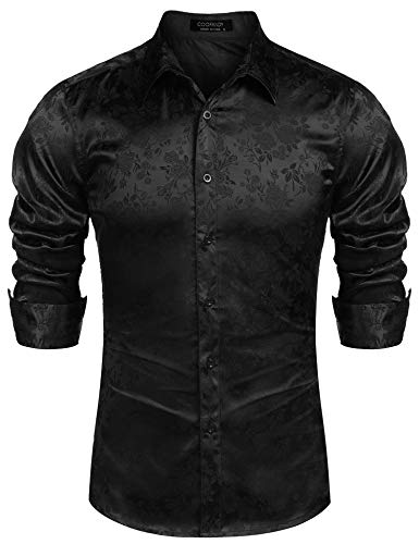 COOFANDY Men's Long Sleeve Satin Luxury Printed Silk Dress Shirt Dance Prom Party Button Down Shirts (Large, Black)