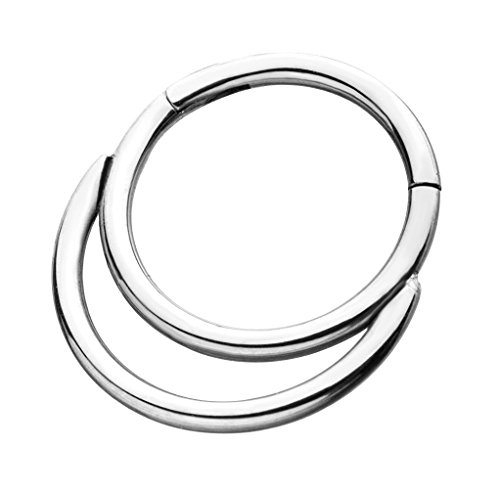 (18G Double Hoop Hinged Segment Ring for Septum, Nostril, Lip, and Ear Piercings (Silver Tone))