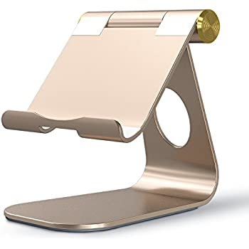 OMOTON Tablet Stand, Adjustable Multi-Angle Aluminum iPad Stand, with Stable Sticky Base and Convenient Charging Port, Fits All Smart Phones, E-readers and Tablets (Up to 12.9 inch), Gold