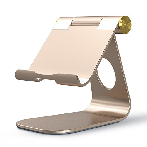 OMOTON Tablet Stand, Adjustable Multi-Angle Aluminum iPad Stand, with Stable Sticky Base and Convenient Charging Port, Fits All Smart Phones, E-readers and Tablets (Up to 12.9 inch), Gold (Edition Gold Iphone 5s)