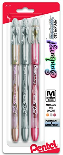 (Pentel Sunburst Metallic Gel Pen, Medium Line, Permanent, Gold, Silver, Bronze Ink Pack of 3 (K908MRBP3M))