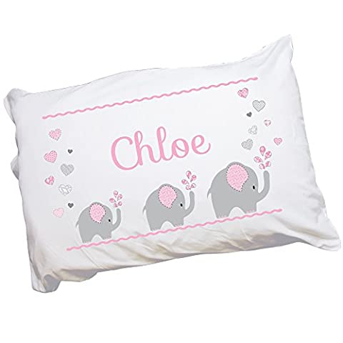 Personalized Elephant pink Pillowcase