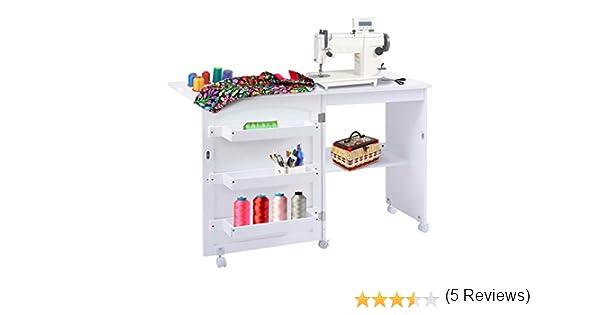 Mesa para la máquina de coser plegable con armario, blanco: Amazon ...