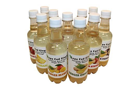 Ginger Sparking Organic Beverage Sampler, 2 Bottles of each Flavor, 12 Total