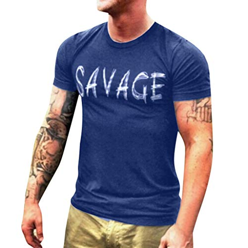 Men T-Shirt Short Sleeve Casual Fashion Shirt Letter Print Top Blouse (M, ()