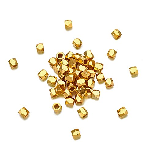 (Pandahall 50pcs 3x3mm Faceted Rondelle Spacer Column Nugget Beads Golden Cube Hole: 1.5mm for DIY Jewelry Making)