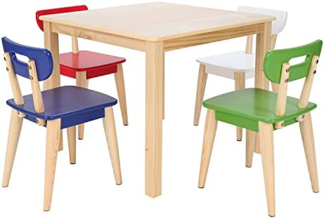 Max Lily Natural Wood Kid and Toddler Square Table Modern Chairs Blue
