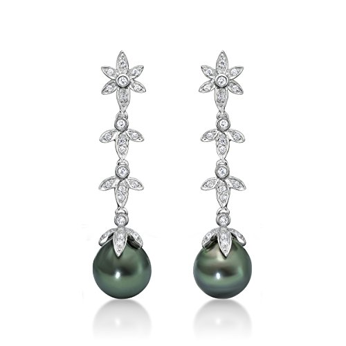 - Sterling Silver White Topaz Tahitian Natural Black Cultured Pearl Dangle Earrings