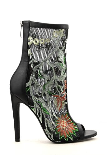 Women Floral Embroidered Stitching On Peep Toe Slim High Heel Ankle Bootie  Dress Shoes Back Zip Elnora 99  10  Black Elnora 99