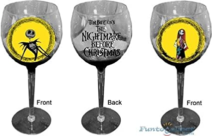 nightmare before christmas wine glass set of 2