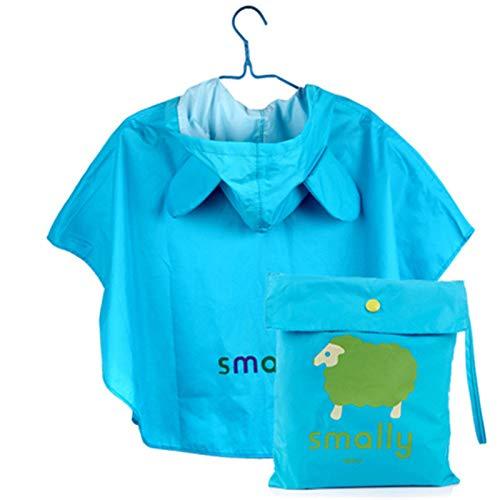 Kids Raincoat, Cartoon Thickened Poncho Waterproof Children's Rainwear, Environmental Tasteless Raincoat Blue elephant-XL
