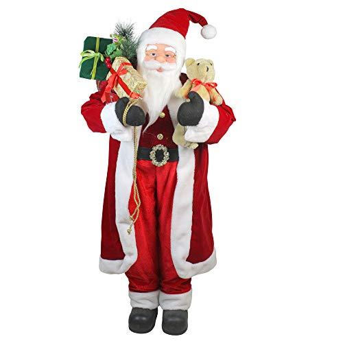 Northlight 4' Standing Santa Claus Christmas Figure with Teddy Bear and Gift Sack