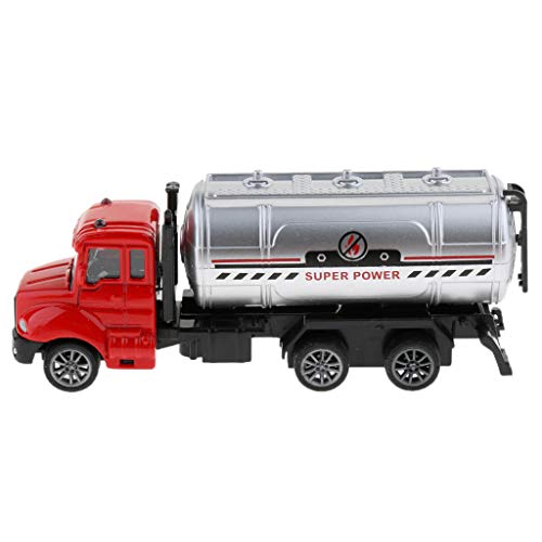 (Flameer 1/64 Scale Alloy Friction Powered Pull Back Car, Construction Vehicle Toy for Kids Toddlers, Fire Truck/ Police Car / Excavator - Tank Truck 2, as)
