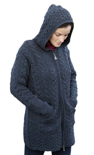 Aran Crafts Women's Merino Wool Hooded Coat L Charcoal (Cardigan Womens Aran)