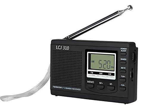 LCJ 310 Portable DSP Shortwave FM AM Clock and Alarm Multiband Radio Receiver Stereo(Black)