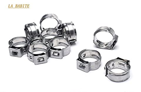 10.3mm-12.8mm Spring Clips Clamps Worm-Drive Fuel Hose Line Water Pipe Air Tube Fasteners .304 Stainless Steel Adjustable Cable Pipe Tight Hose (Air Hose Clamp Tool)