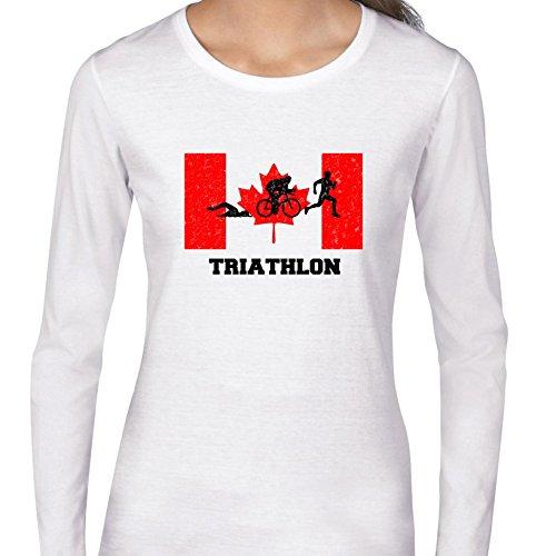 Canada Olympic - Triathlon - Flag - Silhouette Women's Long Sleeve - Apparel Canada Triathlon