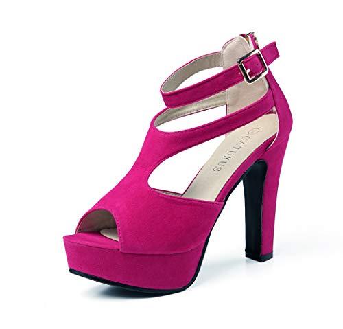 - GATUXUS Women Platform Open Toe High Chunky Heel Pumps Dress Shoes Dance Sandals (9 B(M) US, Hot Pink)