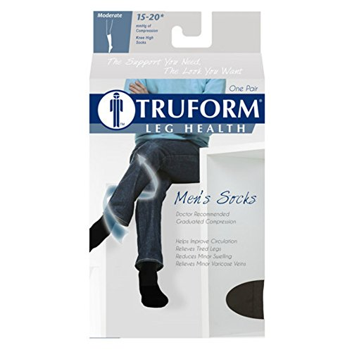 Truform Men's 15-20 mmHg Knee High Cushioned Athletic Support Compression Socks, Brown, X-Large (Pack of 2)