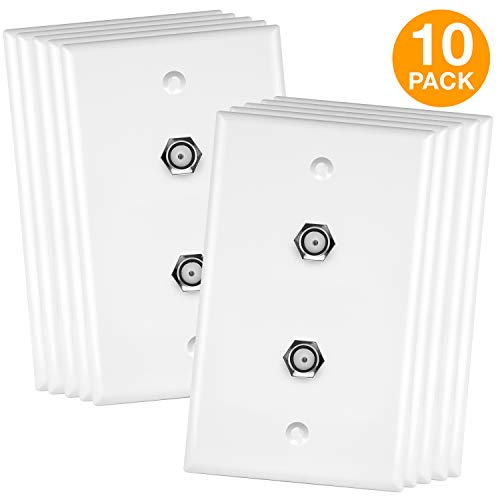 (ENERLITES Duplex F-Type Coax Coupler Barrel Cable Jack Wall Plate, Modular F81 Female to Female Connector Faceplate, UL Listed, 6621-W-10PCS, White (10 Pack))