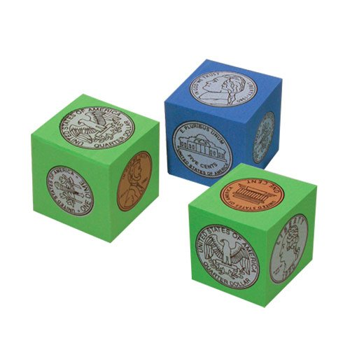 Cube Coin Set (EAI Education QuietShape Foam Coins Cubes - Set of 24)
