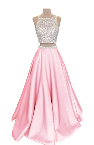 04110b10bf4c VinBridal 2018 Two Piece Long Beaded Satin Prom Dresses for Juniors Pink 12