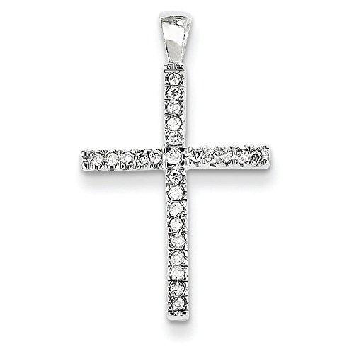 Or blanc 14 carats-Pendentif croix JewelryWeb