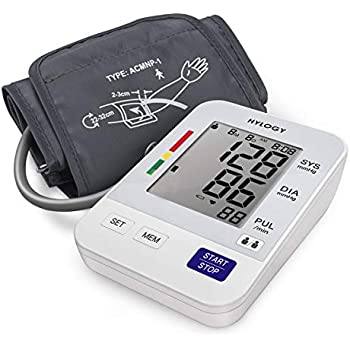 Blood Pressure Monitor, HYLOGY Digital Upper Arm BP Machine Automatic with Large Screen Display and 2 Users Modes, 2 * 90 Memory Storage.