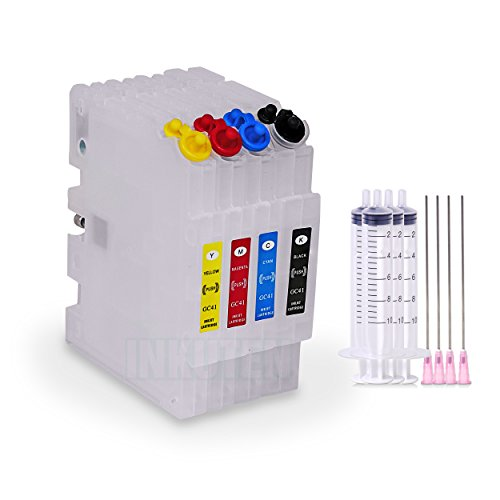 INKUTEN Ricoh Aficio SG 3110DNW GC41 GC-41 Refillable Cartridges Empty with Auto Reset Chips (for Sublimation Ink, Heat Transfer Printing)