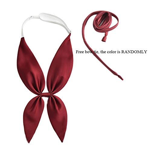 ROLECOS Girls School Uniform Silk Tie Lolita Handmade Japanese Anime Bowtie Wine Red