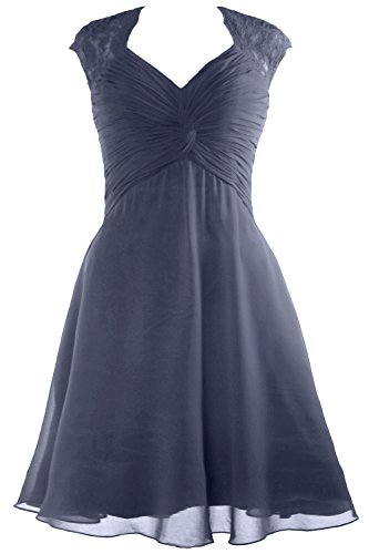 Bridesmaid Chiffon Women Steel Cap Blue 2017 Lace Short Cocktail Sleeve Dress Dress MACloth FxwzIqdw