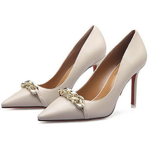 AalarDom Damen Mittler Absatz Spitz Zehe Ziehen Auf Rein Pumps Schuhe mit Wasser Diamanten Aprikosen Farbe-7CM
