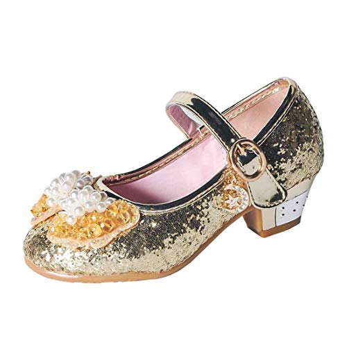 YIBLBOX Girls Kids Childrens Bow Low Heel Party